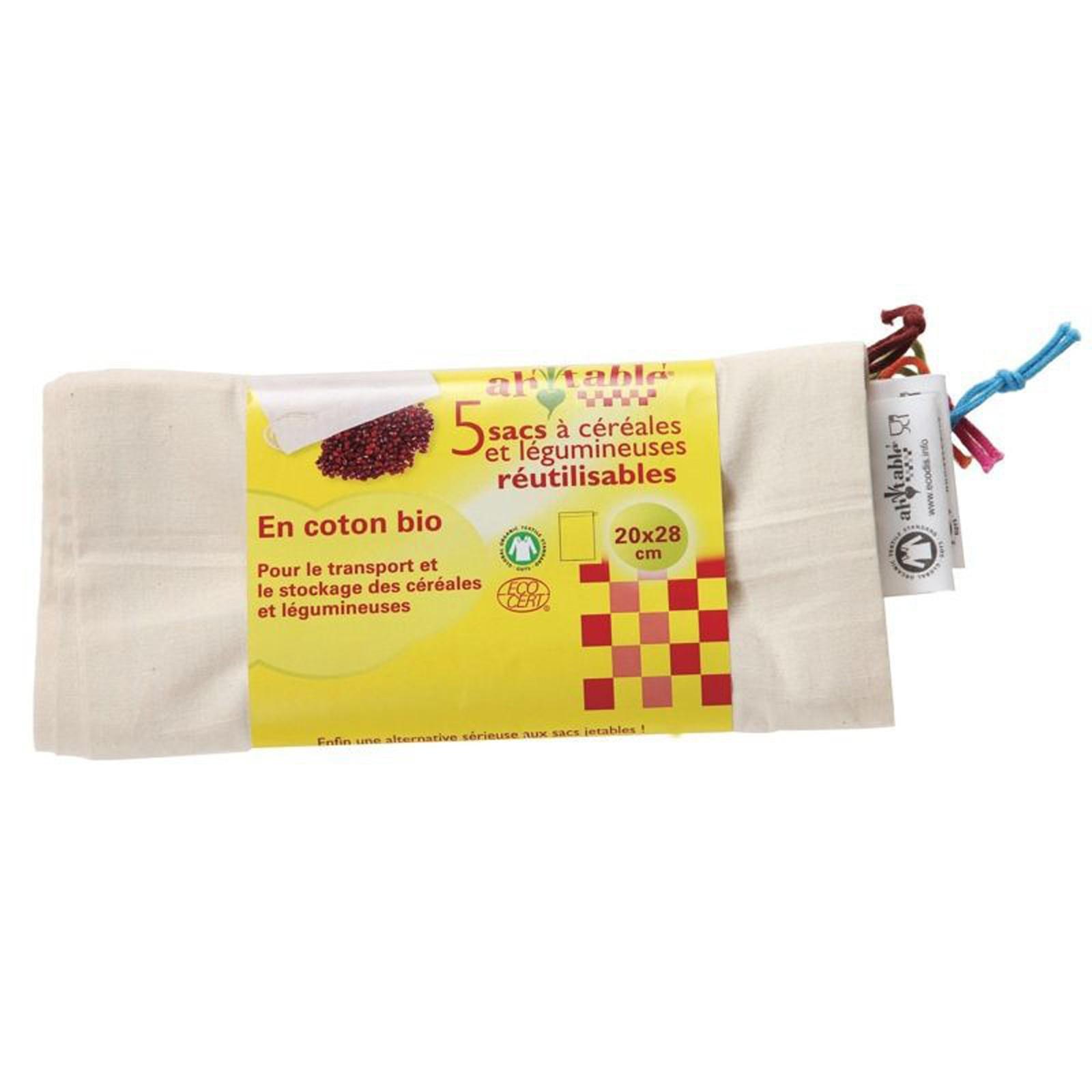 Kit 3 Bolsas reutilizables de algodón orgánico para